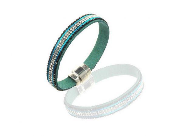 Alcantara Armband mit glitzernden Strasssteinen, ca.10mm breit, 18,5cm lang, mit Magnetverschluss, türkis