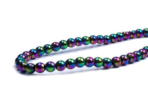 Hämatit Perle 3mm Strang ca.130Stck, rainbow
