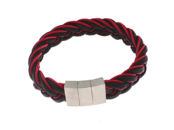 Lederarmband mit Edelstahl Magnetverschluss, ca.15mm breites Bolaleder, ca.21cm, schwarz-rot