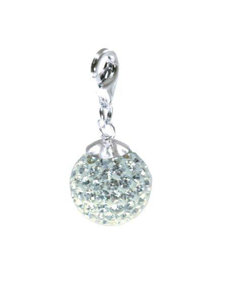 Anhänger ''Diamondball'' 12mm mit Sterlingsilber Karabiner, crystal
