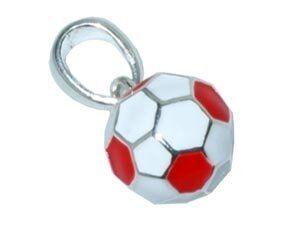 CB-Sportsfashion Anhänger versilbert, Fussball 12mm rot/weiss