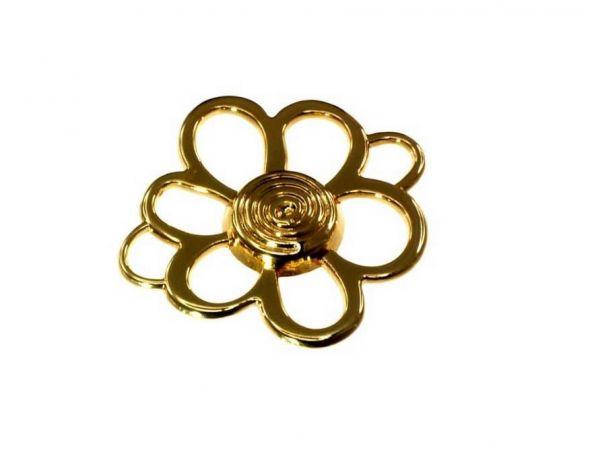 10 Stück Metallblume ca.40mm mit zwei Ösen, vergoldet