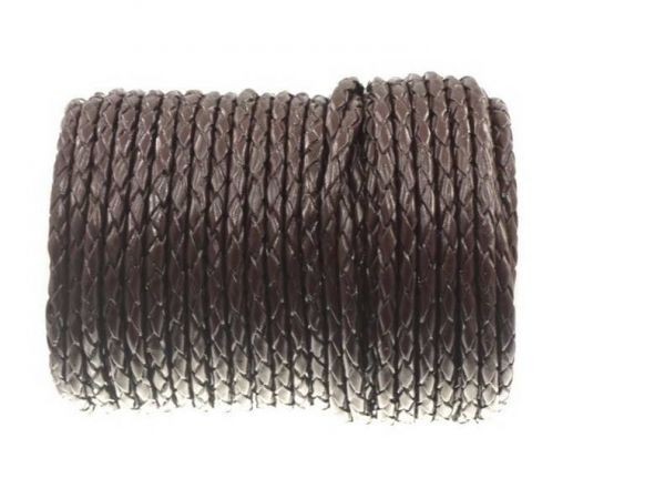 Lederschnur geflochten,(Bolaleder) 5mm, Rolle 10m, braun