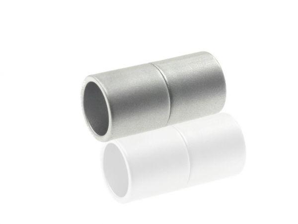 Magnetverschluss Powerclip DE,Zylinder, 21x8,5mm, 5mm innen, silber matt