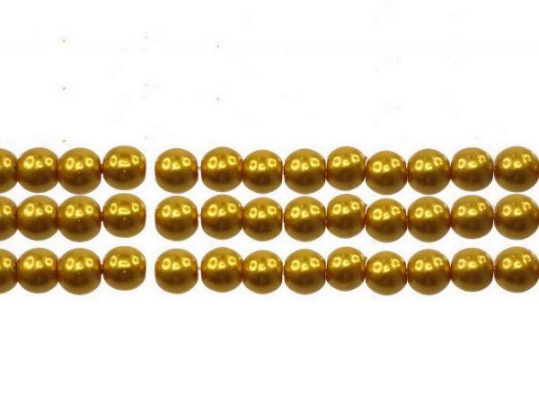 Glas-Wachsperle, 6mm, Str. ca. 70 Stck, curry