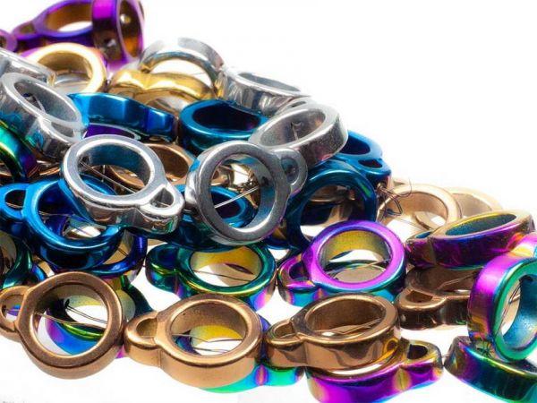 """Hämatit (synthetisch) """"Doppelkreis"""" 12mm bunt gemischt, metallictöne, ca 25 Stück"""