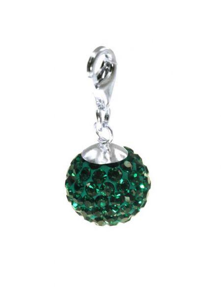 Anhänger 'Diamondball' 12mm mit Sterlingsilber Karabiner, emerald