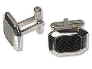 Edelstahl Manschettenknöpfe 'Octagon' ca.20x16mm, silber mit schwarz