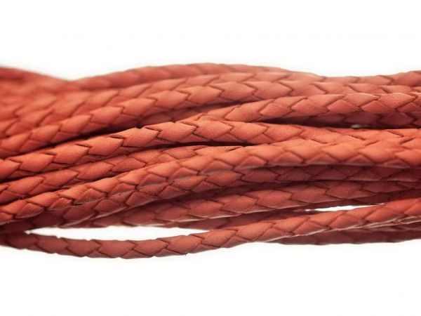 Lederschnur geflochten, extra weich, 3mm, 1,00m, orange