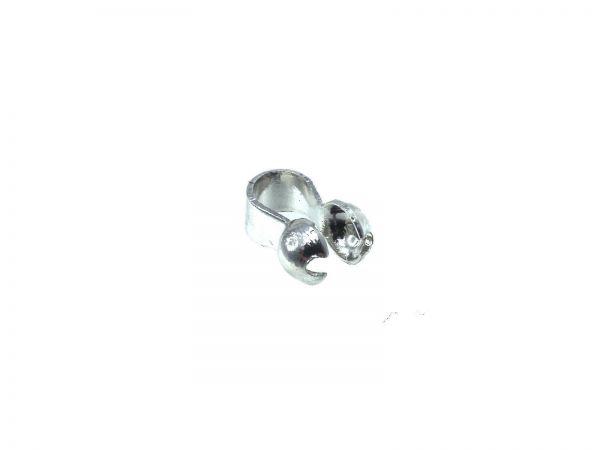 Kalotte, high quality, für 2-2,5mm mit großer Öse Innendurchmesse ca.2,2mm, rhodium