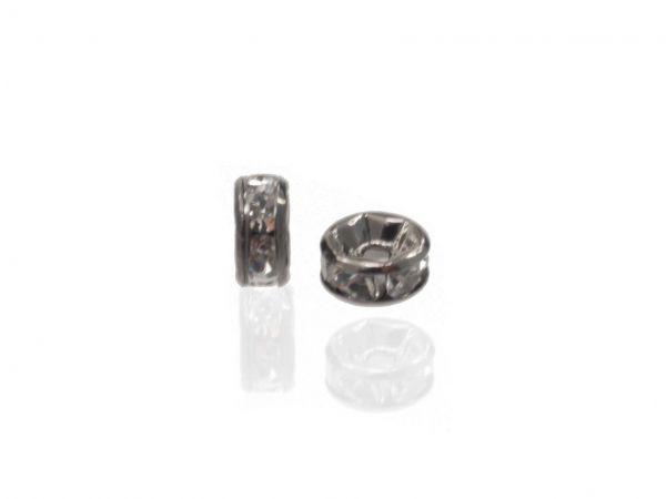 Strassradl 6mm, 10 Stück, schwarz/crystal