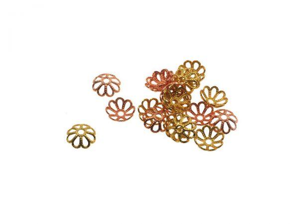 Perlkappe 8mm rosegold und gold 20 Stück gemischt