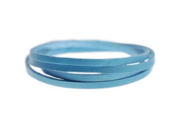 Lederschnur, flach 5mm breit, 3mm dick 1m, blau