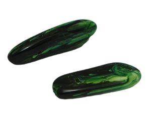 Glasperle zahn marmoriert ca. 30x5mm, schwarz-grün