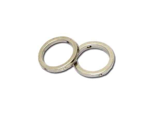 25 Stück Metallzierteil rund 12mm, rhodiumfarbig
