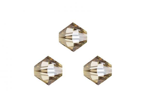 Swarovskiperlen 4mm, Doppelkegel, 25St., crystal golden shadow