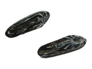 Glasperle zahn marmoriert ca. 30x5mm, schwarz-weiß