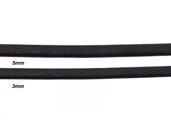 Lederschnur, flach, 3mm breit, 1mm dick, schwarz