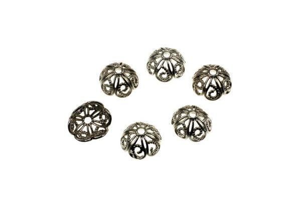 Perlkappe Metall Flower ca.10x5mm, altsilber, 10 Stück