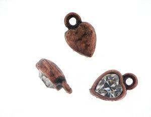 10 Stück Anhänger antikkupfer Herz 8x10mm m. Swarovski Crystal cryst