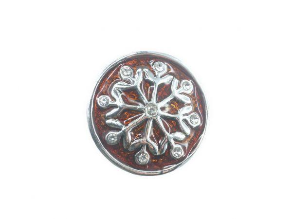 Click-it Button Snowflake, 18 mm, braun